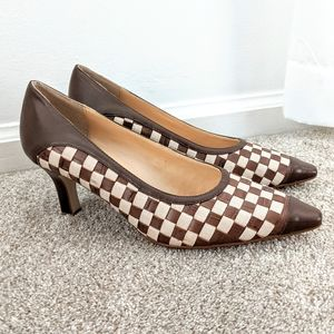 Vintage Leather Checkerboard Pointed Toe Heels